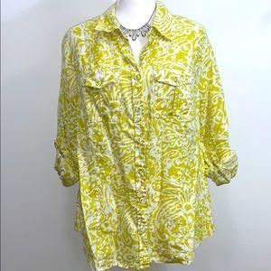 Charter Club Woman Lime & White Pattern Blouse